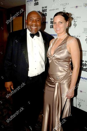 The Boodles Boxing Ball at the Royal Lancaster Hotel London in Aid of Sparks Sports Aiding Medical Research For Kids Sponsored by Boodles Victor Ubogu with His Wife