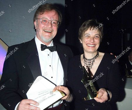 the British Book Awards at the Grosvenor House Hotel Winner of the Daily Mail Independant Book Shop Award 'Bookmark' Spalding(r) with Presenter Bernard Cornwell