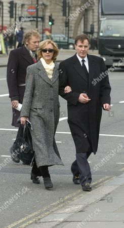 The Funeral of the Hon Lady Aitken at St Margarets Church Westminster Jonathan Aitken with His Sister Maria Aitken