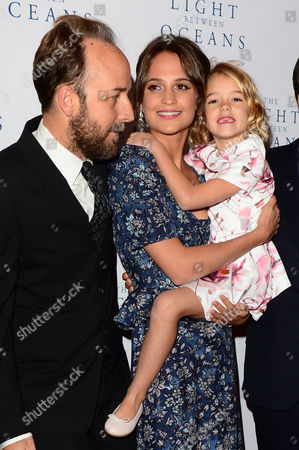 London, England 19th October 2016: Derek Cianfrance, Alicia Vikander and Florence Clery at 'the Light Between Oceans' UK Premiere at the Curzon Mayfair in London, England On the 19th October 2016.