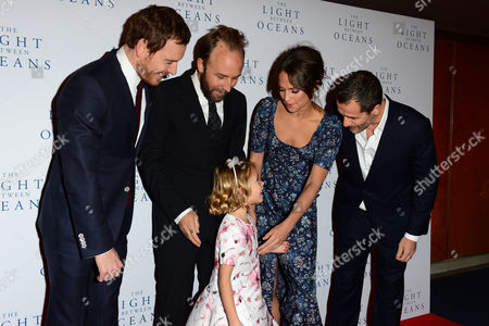 London, England 19th October 2016: Michael Fassbender, Director Derek Cianfrance, Alicia Vikander, Florence Clery and Producer David Heyman at 'the Light Between Oceans' UK Premiere at the Curzon Mayfair in London, England On the 19th October 2016.