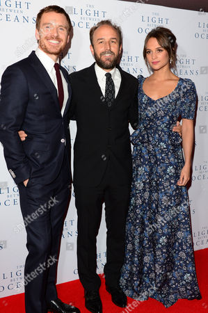 London, England 19th October 2016: Michael Fassbender, Derek Cianfrance and Alicia Vikander at 'the Light Between Oceans' UK Premiere at the Curzon Mayfair in London, England On the 19th October 2016.