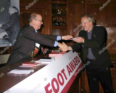 The Paul Foot Award at the Courthouse Hotel Great Marlborough Street London Ian Hislop and Runner Up Henry Porter