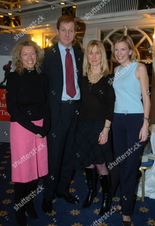 Triathlon Launch Party at the Park Lane Hilton Hotel in Aid of the Leukaemia Reserach Fund Alastair Campbell with His Partner Fiona Miller with Her Triathlon Team Jo Gibbons and Harriet Quinlan (they Are Both to Be in the Triathlon)