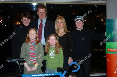 Triathlon Launch Party at the Park Lane Hilton Hotel in Aid of the Leukaemia Reserach Fund Alastair Campbell with His Partner Fiona Miller and Their Children Grace and Cullum with Lindsy and Hope Merritt