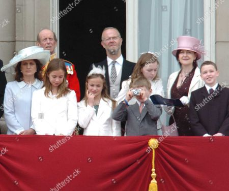 Trooping of the Queen's Colour of First Battalion Grenadier Guards Marking the Queen's Official Birthday Scenes in the Mall and On the Balcony of Buckingham Palace the Duke of Kent with His Son George Earl of St Andrews His Wife Sylvana & Daughters Lady Marina-charlotte & Lady Amelia & Marina Ogilvy and Her Family