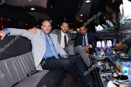 London UK 29th Sept 2016: Alexander Skarsgard, John Michael Mcdonagh and Michael Pena Travel in a White Stretch Limo Between Premieres for Their War On Everyone 'premiere Crawl' Across London UK at Ritzy Picturehouse, Picturehouse Central and Finally Hackney Picturehouse On the 29th September 2016