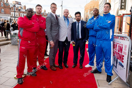 London UK 29th Sept 2016: Alexander Skarsgard, John Michael Mcdonagh, and Michael Pena with Their Security for the Evening During the War On Everyone 'premiere Crawl' Across London UK at Ritzy Picturehouse, Picturehouse Central and Finally Hackney Picturehouse On the 29th September 2016