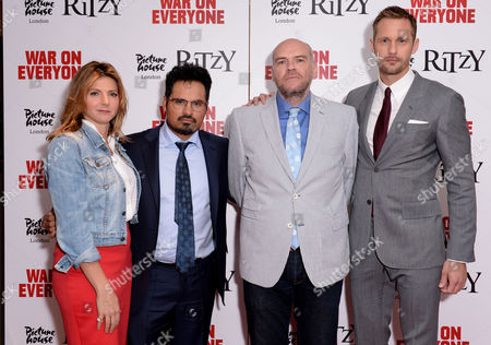 London UK 29th Sept 2016: Alexander Skarsgard, John Michael Mcdonagh with His Wife Elizabeth Eves, Michael Pena at the First Leg of the War On Everyone 'premiere Crawl' Across London UK at Ritzy Picturehouse, Picturehouse Central and Finally Hackney Picturehouse On the 29th September 2016