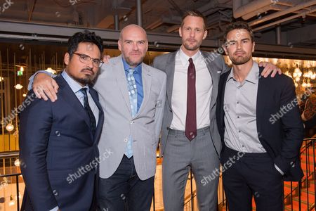 London UK 29th Sept 2016: Alexander Skarsgard, John Michael Mcdonagh and Michael Pena Meet Up with Co-star Theo James at the Picturehouse Central During the War On Everyone 'premiere Crawl' Across London UK at Ritzy Picturehouse, Picturehouse Central and Finally Hackney Picturehouse On the 29th September 2016