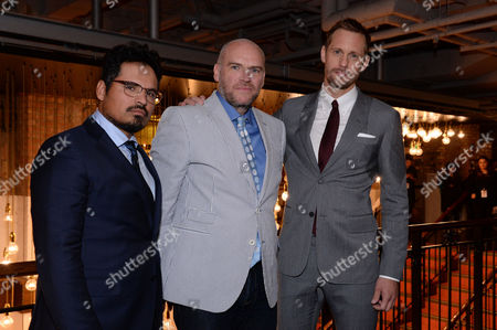London UK 29th Sept 2016: Alexander Skarsgard, John Michael Mcdonagh, and Michael Pena at the War On Everyone 'premiere Crawl' Across London UK at Ritzy Picturehouse, Picturehouse Central and Finally Hackney Picturehouse On the 29th September 2016