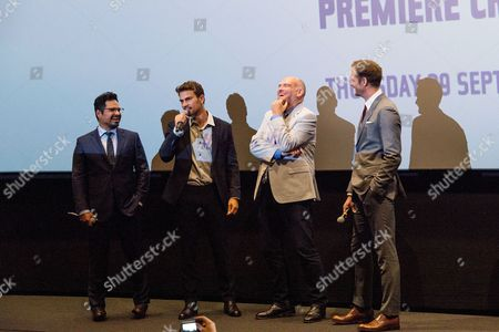 London UK 29th Sept 2016: Alexander Skarsgard, John Michael Mcdonagh, Michael Pena Introduce Their Film During at the Second Leg of the War On Everyone 'premiere Crawl' Across London UK at the Ritzy Picturehouse, Brixton On the 29th September 2016