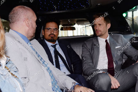 London UK 29th Sept 2016: Alexander Skarsgard, John Michael Mcdonagh, Michael Pena Travel in A White Stretch Limo Between Premieres For Their War On Everyone 'premiere Crawl' Across London UK at Ritzy Picturehouse, Picturehouse Central and Finally Hackney Picturehouse On the 29th September 2016