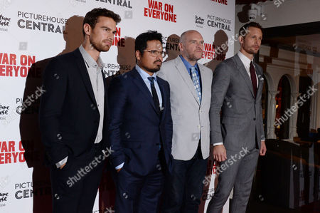 London UK 29th Sept 2016: Alexander Skarsgard, John Michael Mcdonagh, Michael Pena Meet Up with Co-star Theo James at the Picturehouse Central During the War On Everyone 'premiere Crawl' Across London UK at Ritzy Picturehouse, Picturehouse Central and Finally Hackney Picturehouse On the 29th September 2016