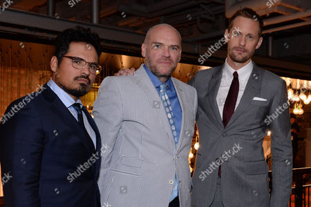 London UK 29th Sept 2016: Michael Pena, Director, John Michael Mcdonagh and Alexander Skarsgard at the Picturehouse Central Leg of the War On Everyone 'premiere Crawl' Across London UK at Ritzy Picturehouse, Picturehouse Central and Finally Hackney Picturehouse On the 29th September 2016