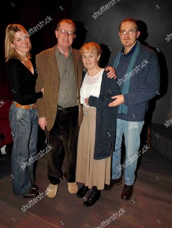 Stock Image of 1st Night of Nightingale Written & Directed by Lynne Redgrave at the New End Theatre Hampstead London One Woman Cast Caroline John (r) is Hugged by Vennesa Redgraves Son Carlo Sparanero Watched by Corin Redgrave and His Daughter Gemma