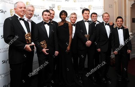 50th Bafta Television Awards at the London Palladium - Press Room Best Sport Programme to Itv Coverage of the Canadian Grand Prix -presenters Denise Lewis and Tom Daley with Neil Duncanson Gerard Lane Kevin Chapman Steve Aldous Steve Ryder James Allen Martin Brundle Mark Blundell