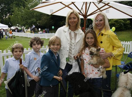 6th Annual Macmillan Dog Day For Cancer Support at the Royal Hospital Chelsea Princess Marie Chantal of Greece with Her Children Princess Maria-olympia of Greece and Denmark Prince Constantine Alexios of Greece and Denmark and Prince Achileas-andreas of Greece and Denmark and Normandie Keith with Her Pet Dog Sugar