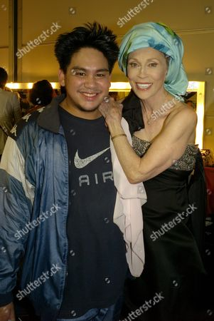 Backstage at the Fashion For Relief Fashion Show Hosted by Naomi Campbell During London Fashion Week at the Natural History Museum Hrh Prince Haji Abdul Azim of Brunei with Faye Dunaway