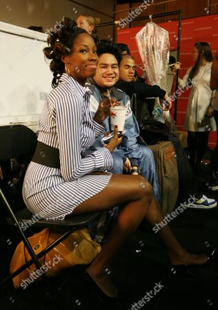 Backstage at the Fashion For Relief Fashion Show Hosted by Naomi Campbell During London Fashion Week at the Natural History Museum Jamelia and Hrh Prince Haji Abdul Azim of Brunei in Makeup Before the Fashion Show