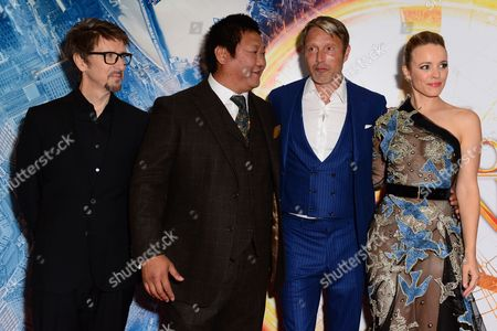 London, England 24th October 2016: Benedict Wong, Rachel Mcadams, Director Scott Derrickson and Mads Mikkelsen at the Red Carpet Launch of the Latest Marvel Comic Book 'doctor Strange' in London On the 24th October 2016.