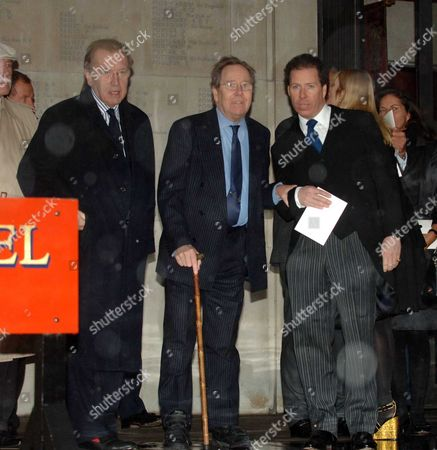 Memorial Service at the Guards Chapel Birdcage Walk David Frost Lord Anthony Snowdon with His Son Viscount David Linley
