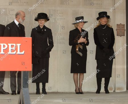 Memorial Service at the Guards Chapel Birdcage Walk Prince Michael of Kent Princess Alexandra Camilla Duchess of Cornwall and Princess Michael of Kent