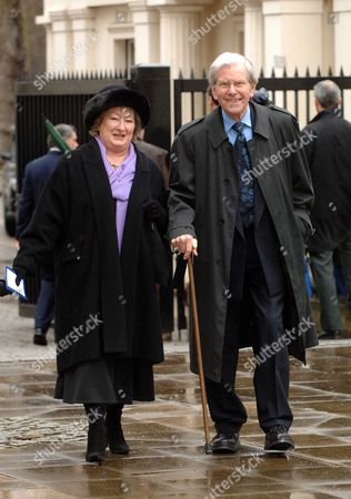 Stock Image of Memorial Service at the Guards Chapel Birdcage Walk Bob Holness with His Wife Mery