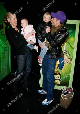 Premiere and Party For 'Ben 10 Alien Force' at Old Billingsgate Market Seb Bishop with His Wife Heidi Wichlinski and Their Children Max and Sky