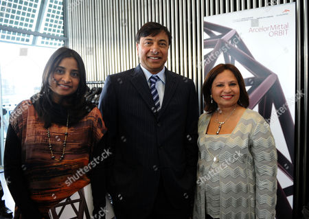 Press Conference at City Hall to Launch the Arcelormittal Orbit Sculpture to Be Installed at the Olympic Park Lakshmi Mittal and Usha Mittal with Their Daughter Vanisha Mittal Bhatiav