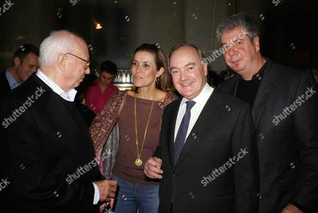 Stock Image of Private View For Work by Ellsworth Kelly at the Serpentine Gallery and Party at the River Cafe Ellsworth Kelly Lady Hayat Palumbo Lord Peter Palumbo and Jack Shear