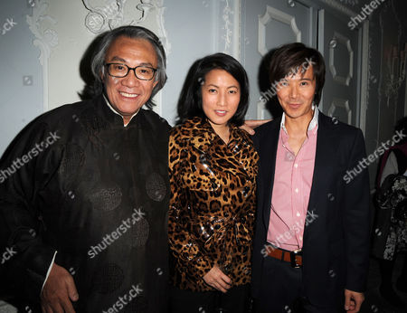 Sir David Tang Holds A Party to Celebrate Receiving A Knighthood at the Orchard Suite Dorchester Hotel Sir David Tang with Andy and Patti Wong