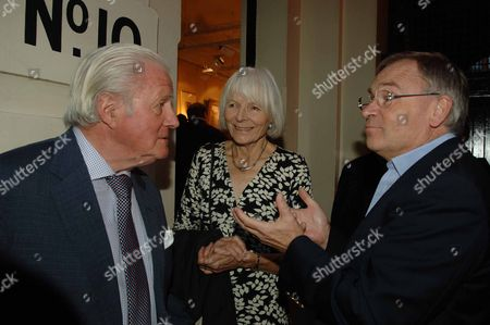 Snowdon Private View at Chris Beetles Gallery Mayfair London John Julius Norwich with His Wife Anne & Lord Jeffery Archer