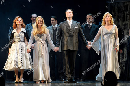 'Strangers On A Train' Press Night at the Gielgud Theatre and Afterparty at Cafe De Paris Curtain Call - Myanna Buring Miranda Raison Christian Mckay and Imogen Stubbs