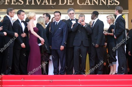 The 2007 Cannes 60th Anniversary Film Festival - 'Oceans 13' Matt Damon George Clooney and Brad Pitt and the Director Jerry Weintraub Andy Garcia Ellen Barkin and Scott Caan Elliot Gould Don Cheadle