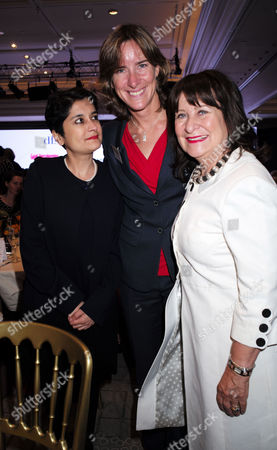 London, United Kingdom, 17th October 2016: Baroness Shami Chakrabarti with Dr Katherine Grainger Cbe & Helena Kennedy, Baroness Kennedy of the Shaws at the 61st Women of the Year Lunch and Awards at the Park Hotel in London On the 17th October 2016.