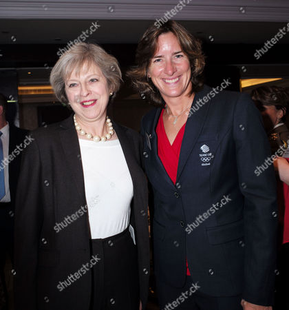 London, United Kingdom, 17th October 2016: the Prime Minister Theresa May with Dr Katharine Grainger at the 61st Women of the Year Lunch and Awards at the Park Hotel in London On the 17th October 2016.