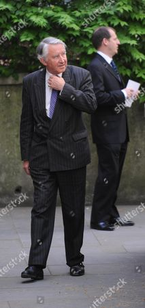 Arrivals at the Funeral For Sir Clement Freud at St Brides Fleet Street London Lord David Steele