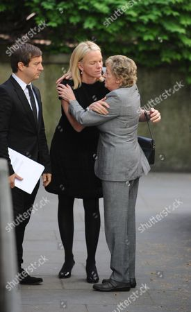 Arrivals at the Funeral For Sir Clement Freud at St Brides Fleet Street London Elizabeth Murdock and Her Mother in Law Lady Jill Freud
