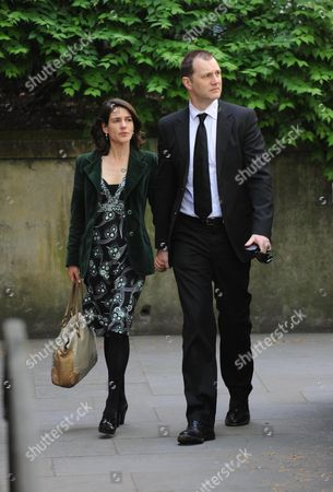 Arrivals at the Funeral For Sir Clement Freud at St Brides Fleet Street London David Morrrisey with His Wife Esther Freud