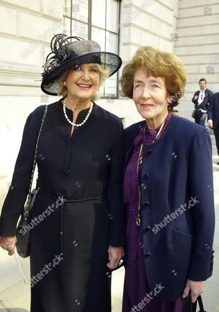 The Funeral For Sir Clement Freud at St Brides Fleet Street London Mrs Nicolas Parsons & Mrs Derek Nimmo