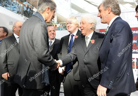 Stock Picture of The Opening of Westfield Shopping Center Shepherds Bush London Boris Johnson Frank Lowy Peter Lowy Sir Philip Green Steven Lowy & Sir Stuart Rose