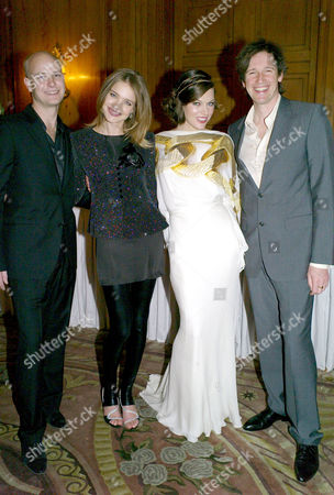 Third Fortune Forum Summit at the Dorchester Hotel Park Lane Justin Portman with His Wife Natalia Vodianova with Milla Jovovich and Paul W S Anderson