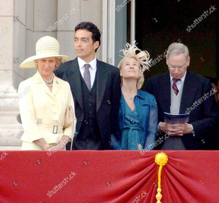 Trooping of the Colour to Celebrate Hm the Queens 80th Offical Birthday Scenes at Buckingham Palace During the Fly Pass the Duchess of Gloucester Her Son in Law Gary Lewis Lady Davina Lewis Her Father Duke of Gloucester