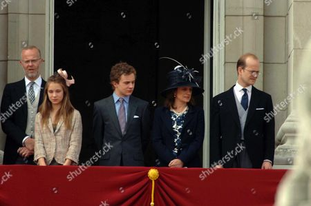 Trooping of the Colour to Celebrate Hm the Queens 80th Offical Birthday Scenes at Buckingham Palace During the Fly Pass the Earl of St Andrews Lady Amelia Windsor Lord Downpatrick Sylvana Windsor Countess of St Andrews Lord Nicholas Windsor