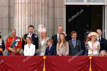 Trooping of the Colour to Celebrate Hm the Queens 80th Offical Birthday Scenes at Buckingham Palace During the Fly Pass Prince Charles Rear Admiral Tim Laurence Lady Helen Taylor with Her Children Eloise Taylor & Columbus Taylor the Earl of St Andrews Lady Marina-charlotte Windsor Lord Downpatrick Sylvana Windsor Countess of St Andrews Serina Linley Lord Nicholas Windsor the Hon Margarita Armstrong-jones