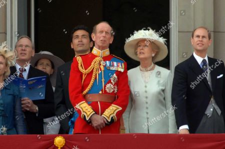 Trooping of the Colour to Celebrate Hm the Queens 80th Offical Birthday Scenes at Buckingham Palace During the Fly Pass Lady Davina Lewis Her Father Duke of Gloucester Gary Lewis the Duke of Kent Princess Alexandra the Duke of Wessex