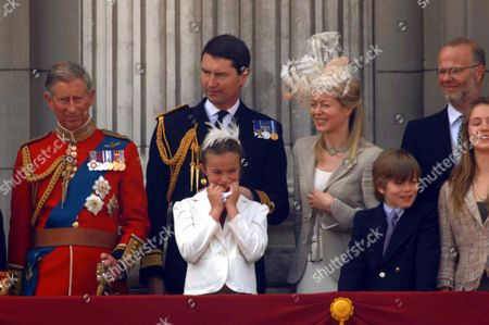 Trooping of the Colour to Celebrate Hm the Queens 80th Offical Birthday Scenes at Buckingham Palace During the Fly Pass Prince Charles Rear Admiral Tim Laurence Lady Helen Taylor with Her Children Eloise Taylor & Columbus Taylor the Earl of St Andrews Lady Marina-charlotte Windsor Lord Downpatrick Sylvana Windsor Countess of St Andrews