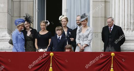Trooping the Colour to Celebrate at Buckingham Palace Duchess of Gloucester Lady Davina Lewis Lord Nicholas Windsor with His Wife Paola Doimi De Frankopan Lady Helen Taylor with Her Son and Daughter and the Duke of Gloucester