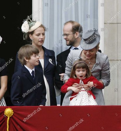 Trooping the Colour to Celebrate at Buckingham Palace Lord Nicholas Windsor with His Wife Paola Doimi De Frankopan Lady Helen Taylor with Her Son and Daughter